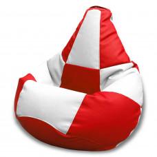 Кресло груша Шахматы Красный с белым