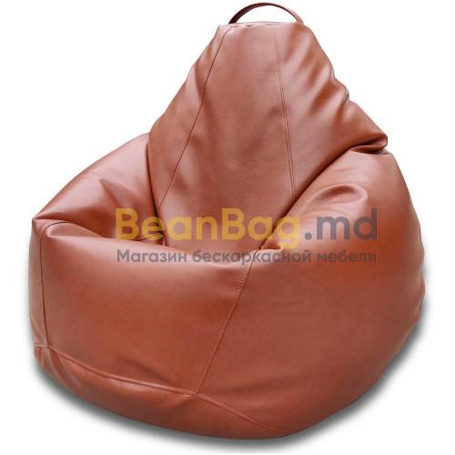 Кресло груша XXL из качественного кожзаменителя Tesla коричневого цвета