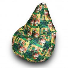 Кресло груша, зеленая с принтом