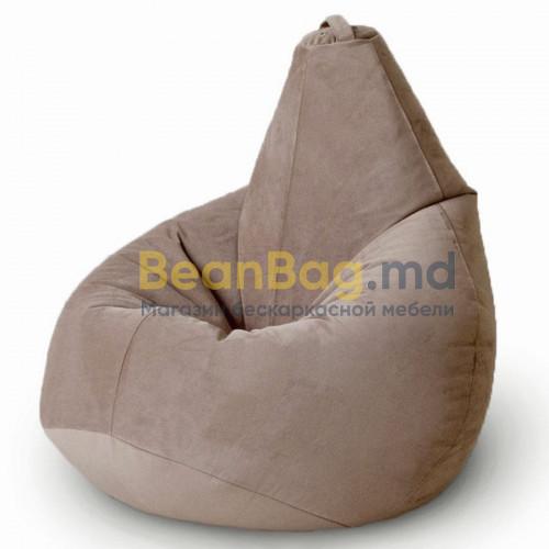 Кресло груша XL из велюра бежевого цвета