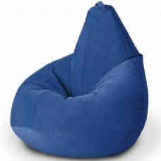 Кресло груша XL из велюра синего цвета