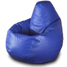 Кресло груша XXL из глянцевой экокожи синего цвета