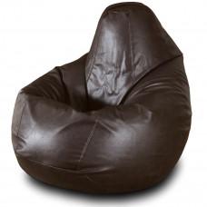 Кресло груша XXL из глянцевой экокожи коричневого цвета