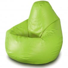 Кресло груша XXL из глянцевой экокожи зеленого цвета