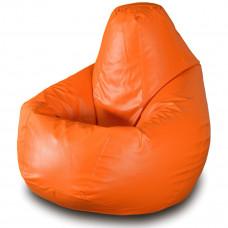 Кресло груша XXL из глянцевой экокожи оранжевого цвета