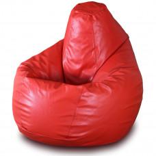 Кресло груша XXL из глянцевой экокожи красного цвета