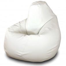 Кресло груша XXL из глянцевой экокожи белого цвета