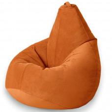 Кресло груша XL из велюра оранжевого цвета