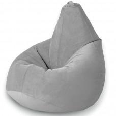 Кресло груша XL из велюра серого цвета