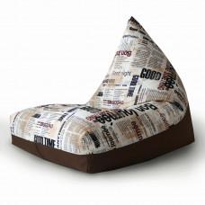 Кресло мешок пирамида из велюра с принтом Журнал