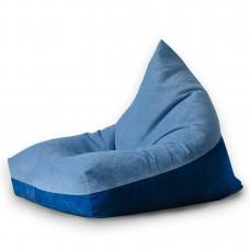 Кресло мешок пирамида из велюра синего и голубого цвета