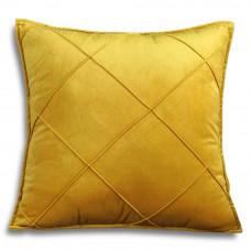 Декоративная подушка из велюра желтого цвета