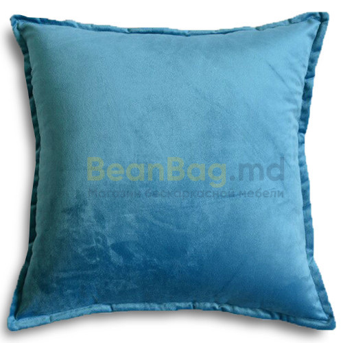 Подушка из велюра 45х45 голубого цвета